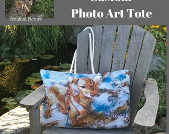 Custom Tote Bag,Made from Photo,Illustrated,Totes,Keepsake,Gift,for Mom,for Grandma,For Teacher,Lined Bag,for Her,Pet Photo Tote,Personalize