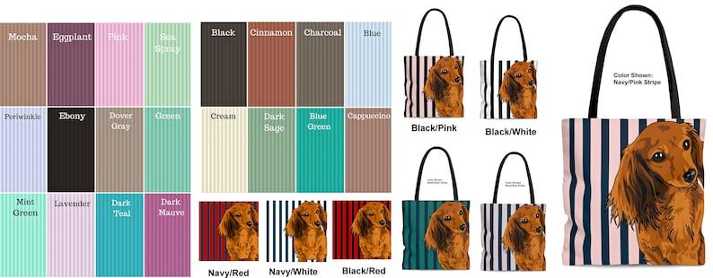 Custom Tote Bag \u2219 Long Haired Dachshund \u2219 Doxie Art \u2219 Dog Mom Tote \u2219 Dog Mom Bag \u2219 Stripe Book Bag \u2219 School Bag \u2219 Color \u2219 Size \u2219 Personalize