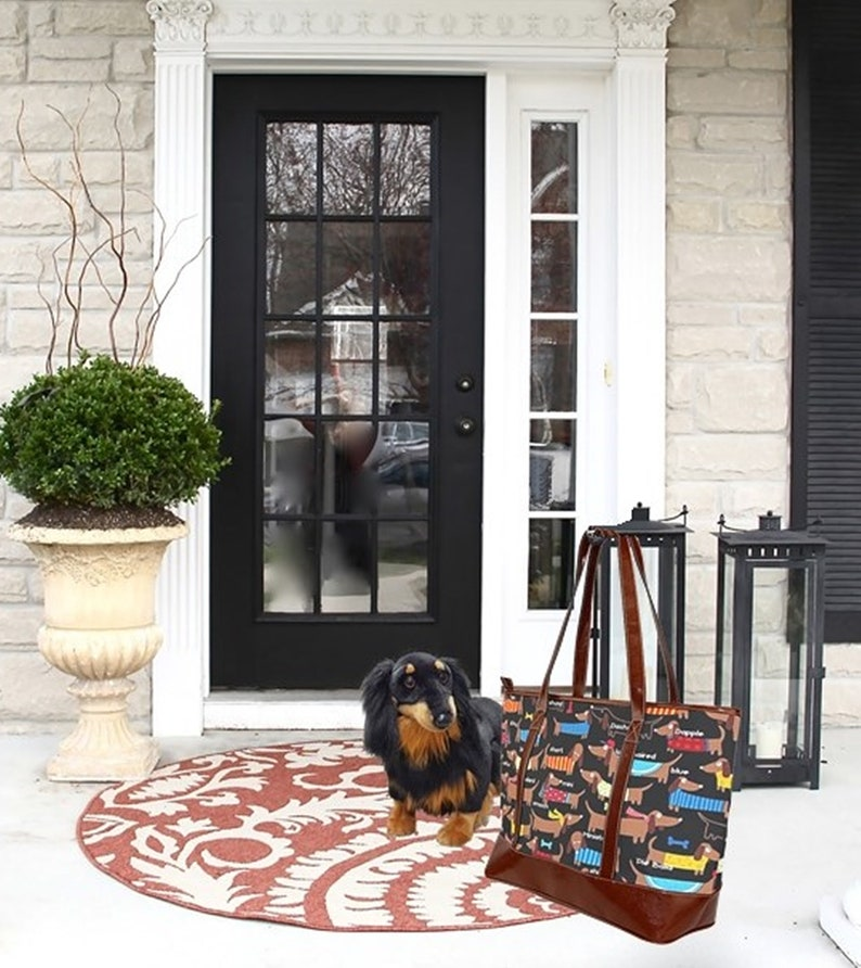 Dachshund Tote Bag \u2219 Dog Art Tote \u2219 Dog Mom Tote \u2219 Doggie Sweater Tote \u2219 Dog Travel Tote \u2219 Dog Art \u2219Weekender Bag \u2219 Vegan Leather \u2219Beach Bag