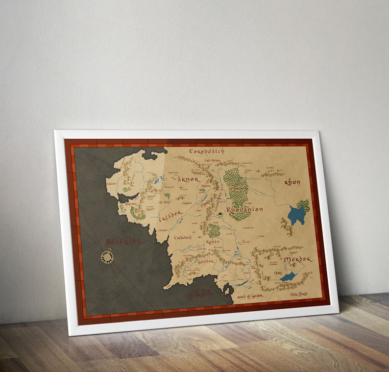 BUY 2 GET ANY 2 FREE MIDDLE EARTH MAP LORD OF THE RINGS HOBBIT POSTER A4 A3