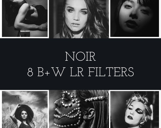 Featured listing image: Noir Lightroom Photo Filters - 8 Pack for Classic Portrait, Street Photography, Landscape, Art Photography - Lightroom Desktop