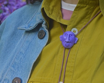 Bolo Tie ~ Clay Sculpture ~ Lilac Sissy Bolo