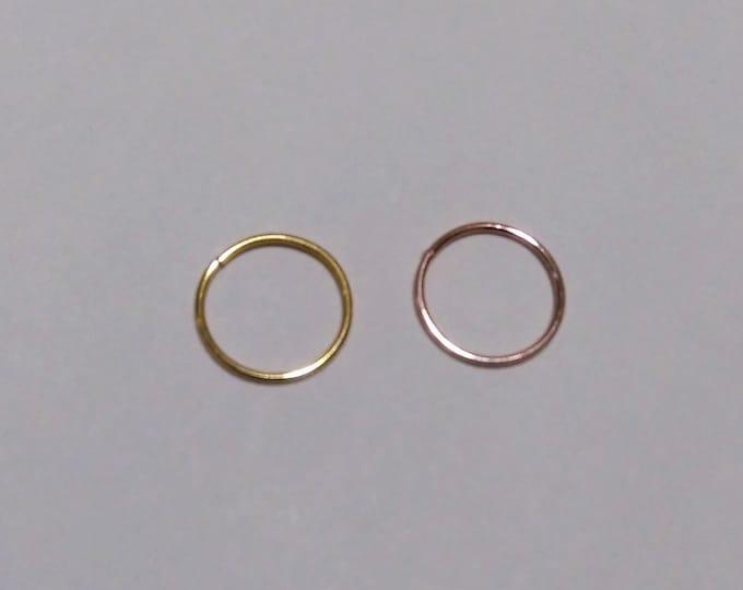 2 Piece SET ~./'.~ 925 Sterling Silver 22 Gauge Nose Ring ~/&~ 925 Sterling Silver Star Top Nose Bone Stud