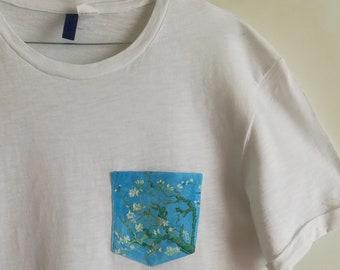 "Handmade t. Shirt ""branch of almond tree in flower"""