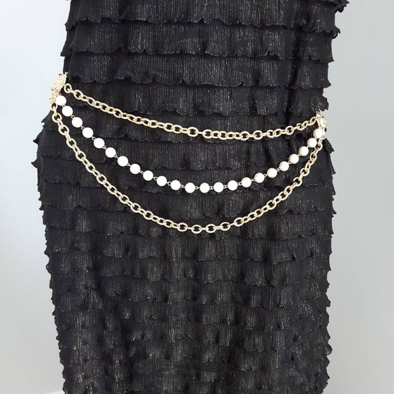 Lion Head Chain Link Belt With Faux Pearls, Chain