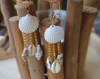 Mauritius - Earrings shell and gold-plated