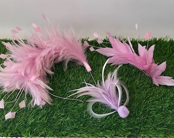 Pink bridesmaid/ flower girl feather mount collection