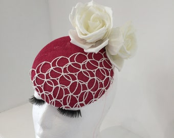 Pink lace and flower detail fascinator