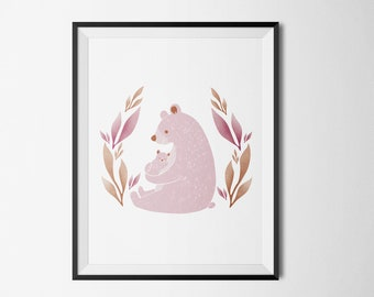 Nursery Decor, Pink Bear 11x14