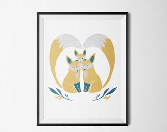 Nursery Decor, Yellow Foxes 8x10
