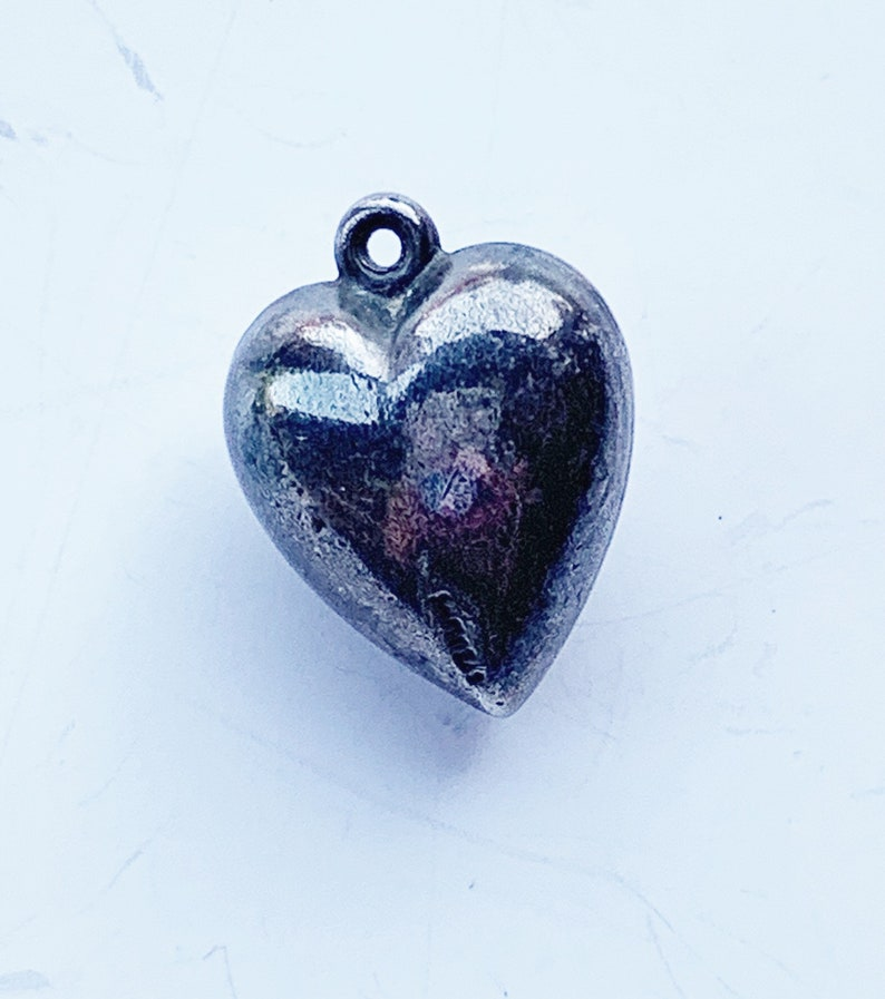Vintage Sterling Extra Puffy Heart Charm with Red Rhinestone