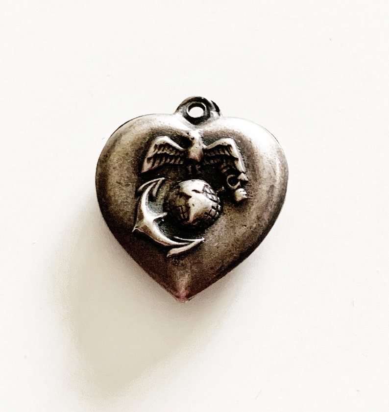 WWII Eagle Globe and Anchor Marines Sterling Puffy Heart Charm