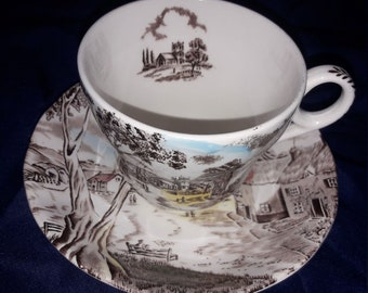 "1950's Antique Teacup and Saucer ""Sunday Morning"" by W.H.Grindley"