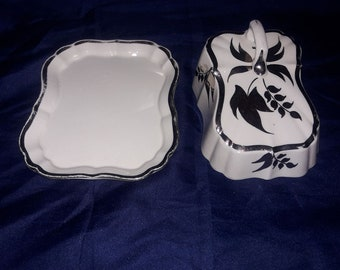 1940's Lancaster and Sandland Butter Dish- Made in England by Hanley