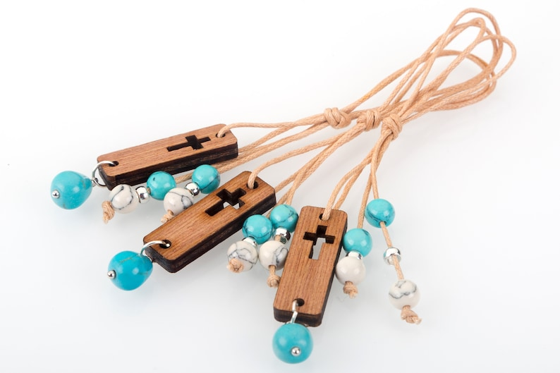 10 pcs Extra Long Gold Necklace Thin String Pendant with Small Flat Wooden Tab Cross White Turquoise Blue Beads Baptism Favors for Boy