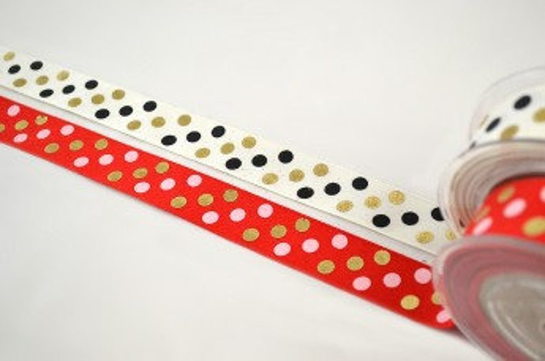Christmas Polka Dots Ribbon Merry Xmas 2 Widths Ornaments Decoration Crafts /& Supplies 2.3cm, 3.5cm