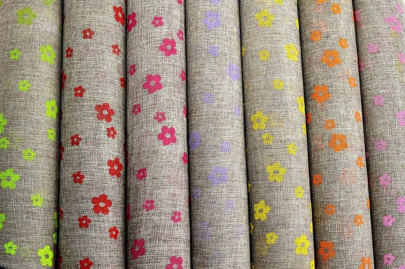 Sack Fabric Flowers Colors Motif 2meters/2.18 yards image 0