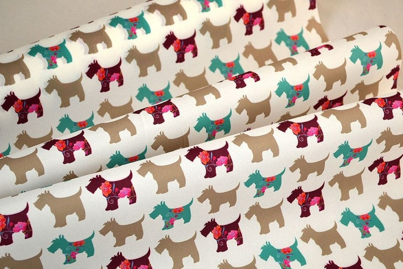 Microfiber Fabric Terrier Dog Motif 2meters/2.18 yards image 0
