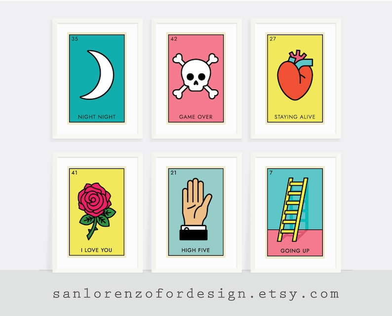 graphic about Loteria Game Printable titled Mexican Bingo Match Printable Wall Artwork - Established of 6 prints - Decide Your Printable Deal - Quick Down load