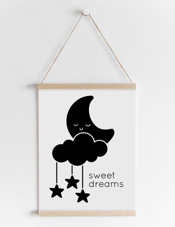 photo about Printable Cloud referred to as Printable Cloud Nursery, Adorable Wishes, Black and White Moon, Cloud and Superstars Wall Artwork Printable, Instantaneous Obtain