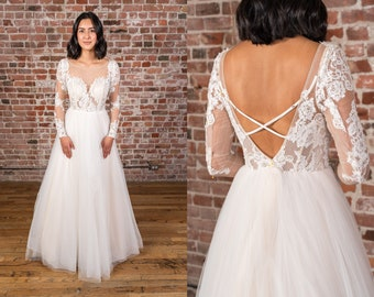 Wedding dress lace sheer top | Etsy