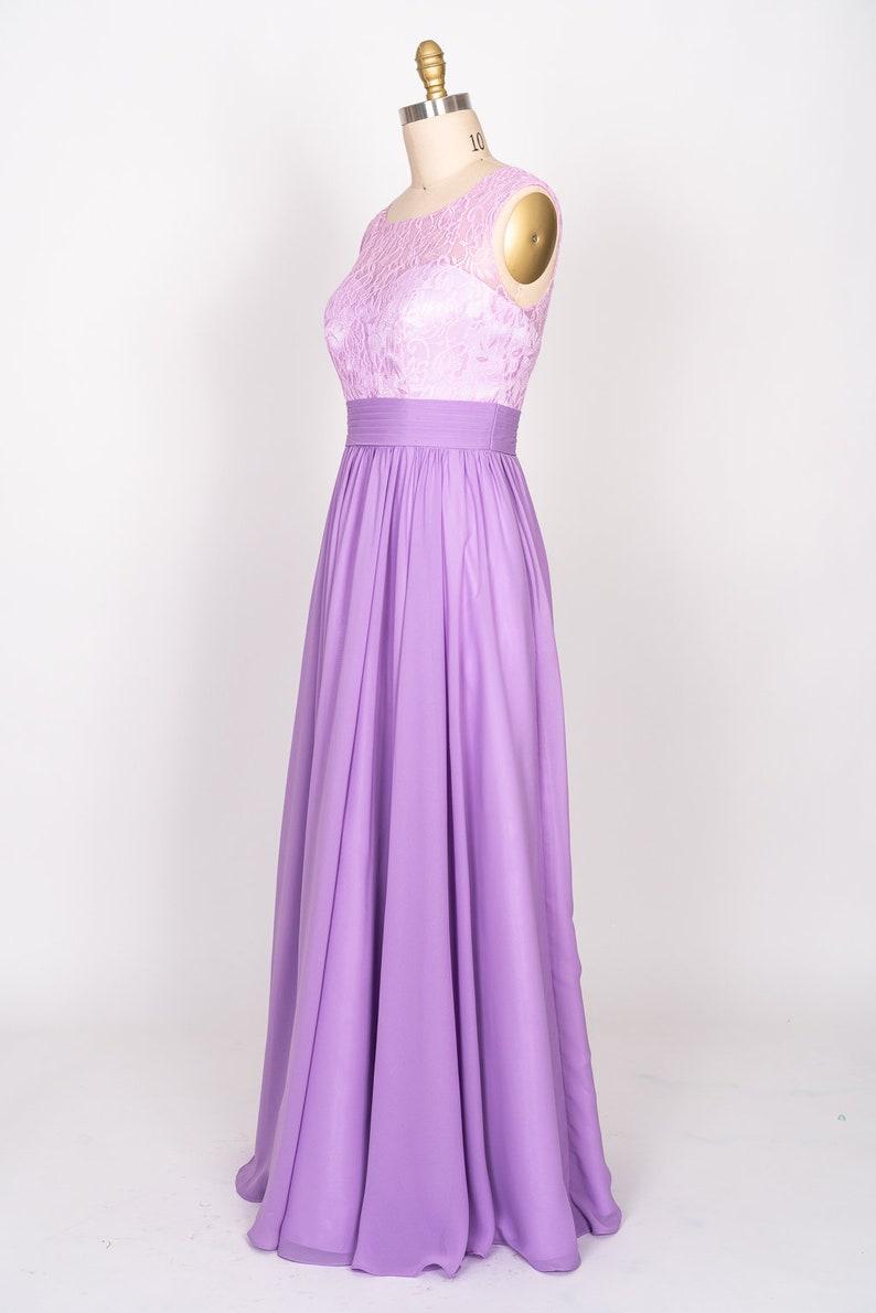 Lace sheer top with  Chiffon skirt full length Dress Graduation Bridal Prom | Wedding Bridesmaid dress Chiffon dress