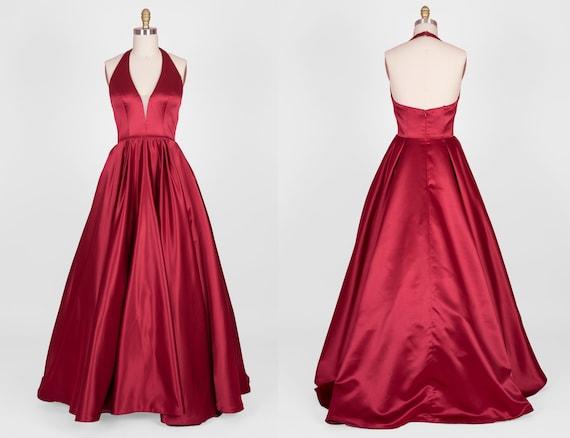 V Neck Halter Satin Ball Gown   Evening dress   Bridal   Wedding   Prom   Graduation  