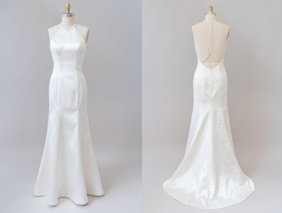 Satin Halter Beaded Collar Mermaid Wedding Gown