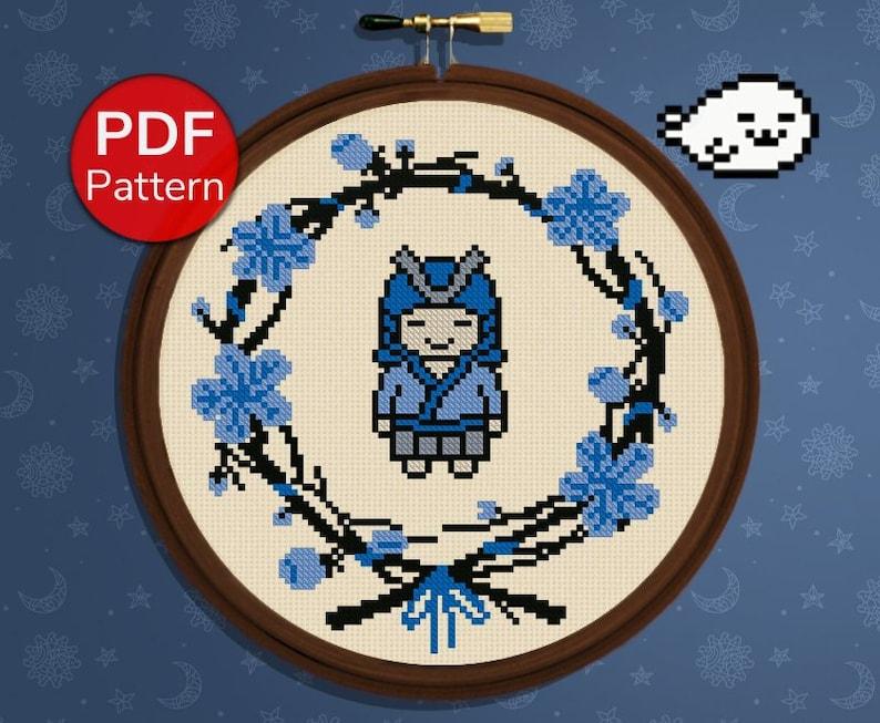 Cute Flower Wreath Blue Samurai Flower Frame Nursery Cross Stitch Nursery Cross Stitch Pattern Japanese style Chibi
