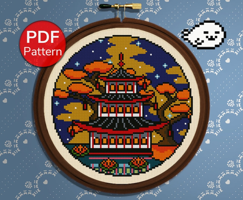 Cross Stitch Pattern Night Sky Cherry Tree Seasons Pagoda Temple Japan Cross Stitch Autumn Fall