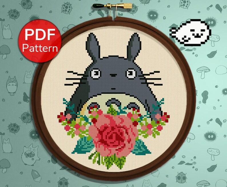 Totoro Flower  My neighbor Totoro  Cross Stitch Pattern  image 0