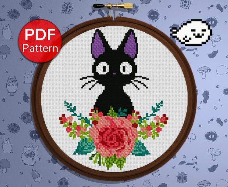 Jiji  Cross Stitch Pattern  Black Cat  Kiki's Delivery image 0
