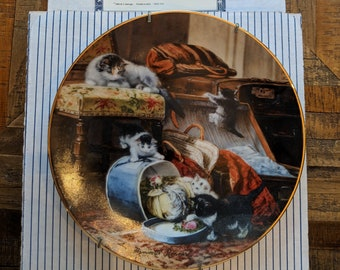 """Victorian Cat plate collection-""""mischief with the hat box"""""""