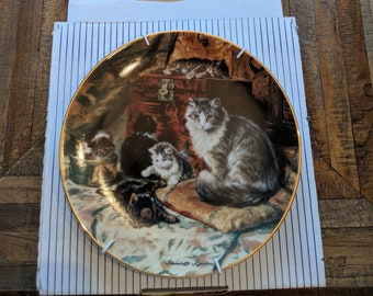 """Victorian Cat plate collection-""""playing in the parlor"""""""