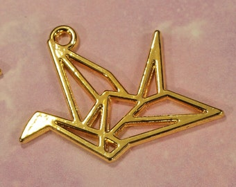 0875 Swan or Crane 30mm Gold Plated Die Cut Double Sided Bird Charms