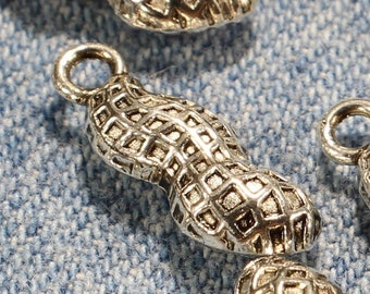 Peanut 18mm Antique Silver Tone Double Sided Food Nut Charms - 1094