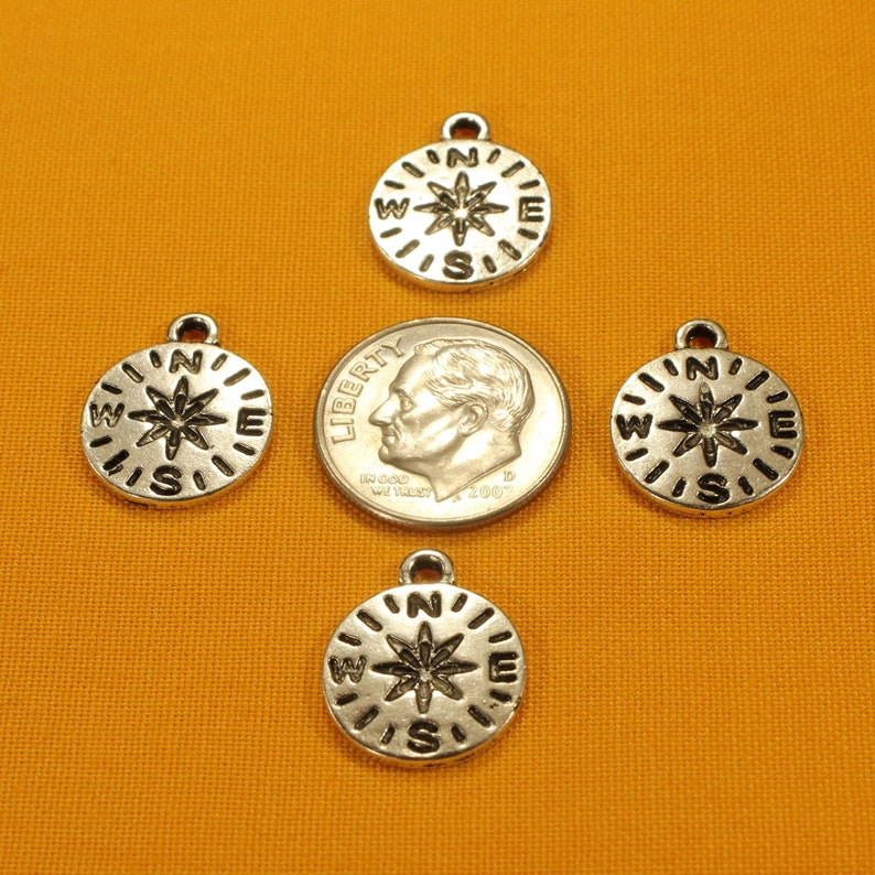 Small Compass 17mm Antique Silver Tone Single Sided Travel Navigation Charms 0240