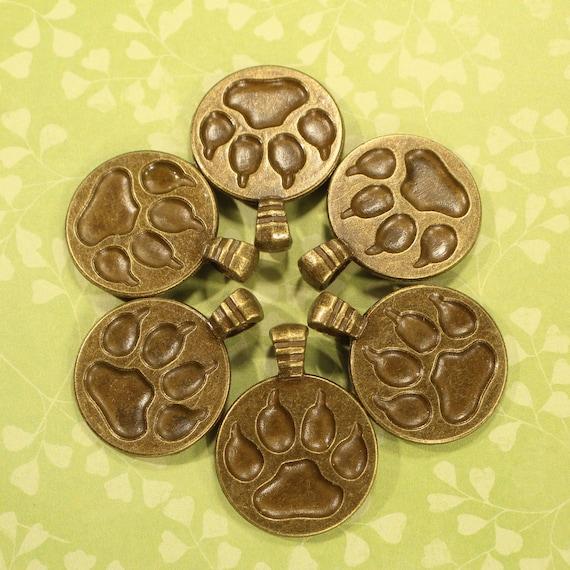 BULK 50 Paw print connector charms antique bronze tone BC196