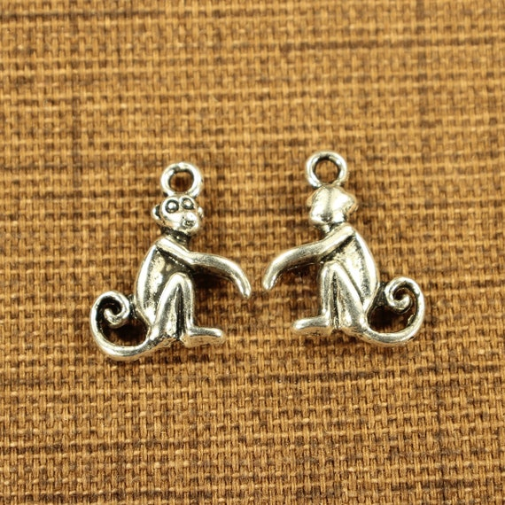 0469 Monkey 16mm Antique Silver Tone Double Sided Animal Charms