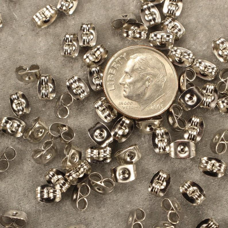 Butterfly Earring Backs 6mm Stainless Steel Silver Tone Findings 0384