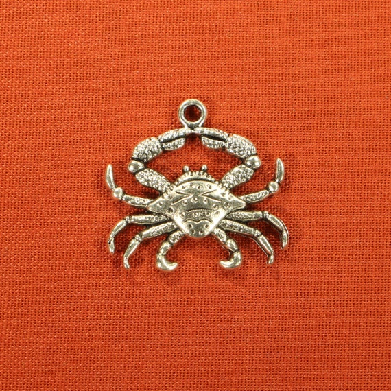 Cancer Sign silver tone metal 25mm 8 Crab Charms Crustacean