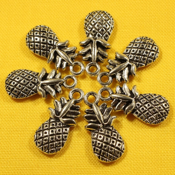 19mm Silver Yellow Plated 3-D Christmas Tree Charm