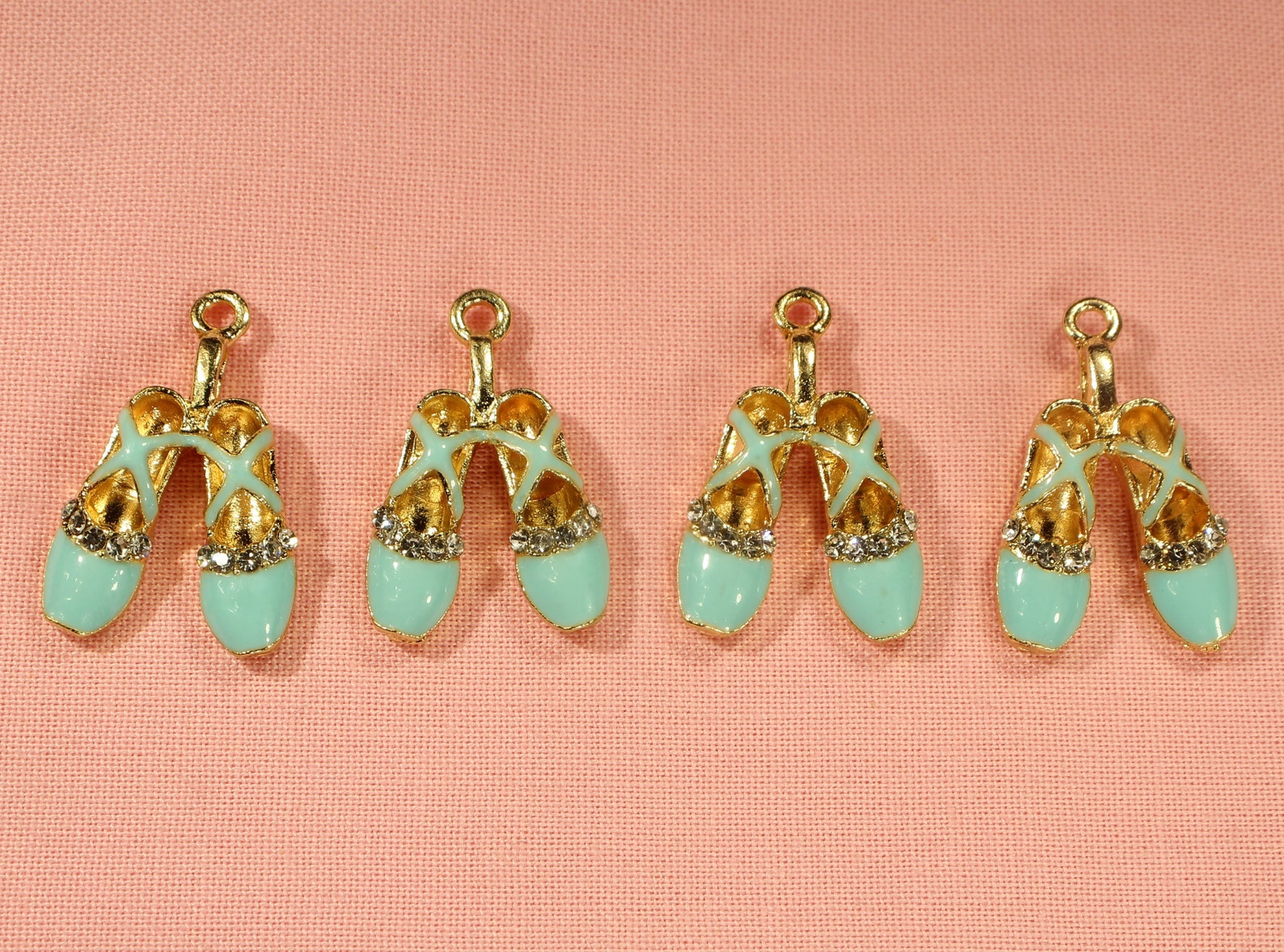 ballet shoes 26mm gold plated, rhinestone and light blue enamel 3d dance charms - 0422