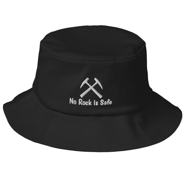 rock collecting geology geologist lapidary agate embroidered cap rock hound cap tumbling hobby No Rock is Safe Embroidered Bucket Hat