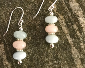 Morganite and Sterling Silver Earrings