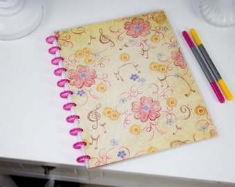 Pink and cream Flowers and Music Notes discbound bullet journal reversible covers.