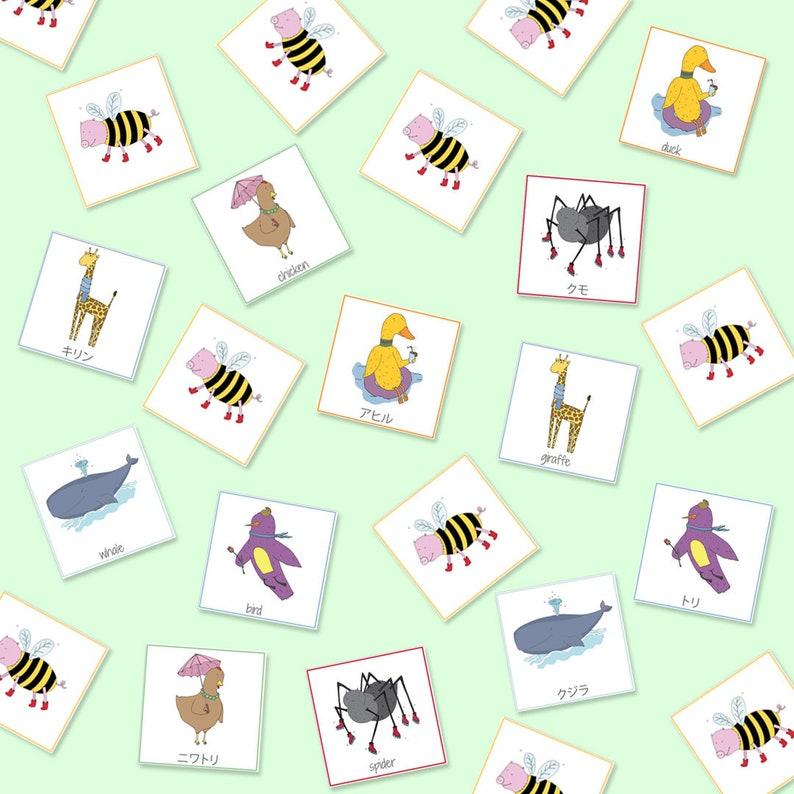 English Japanese Bilingual Animal Memory Game, Animals, Printable Games,  Educational Games, Animal Memory, Memory Cards, Digital Download