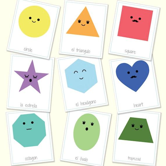 Digital File PDF English to Spanish 10 Color Flashcards Printable Bilingual Color Flashcards