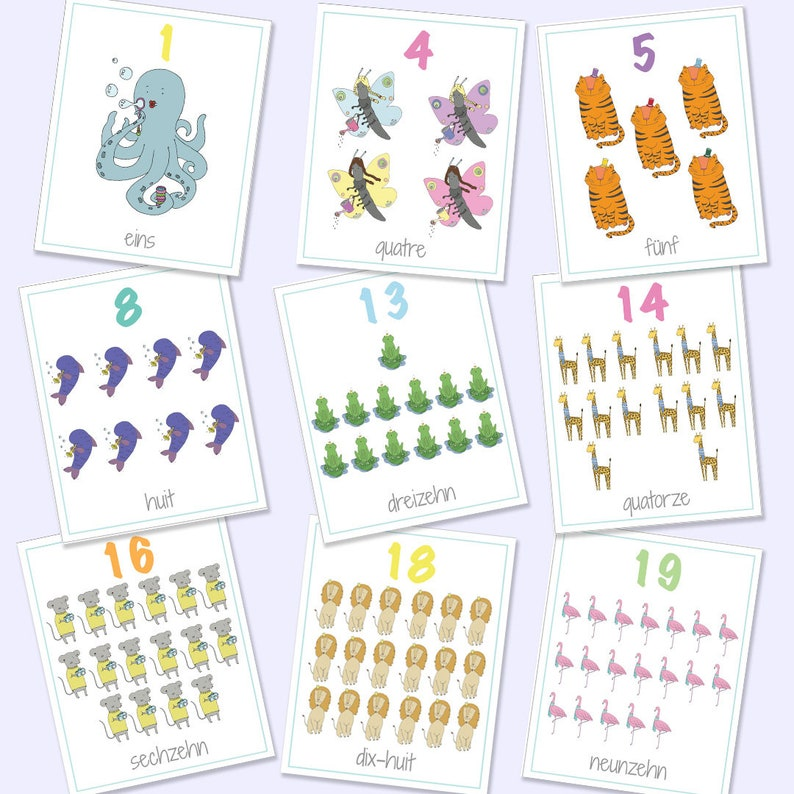 photo regarding Number Flash Cards Printable 1 20 identify German French Bilingual Figures Flash Playing cards 1-20 , Printable Video games, Informative Online games,Animal Quantities, Quantity Playing cards, Electronic Obtain