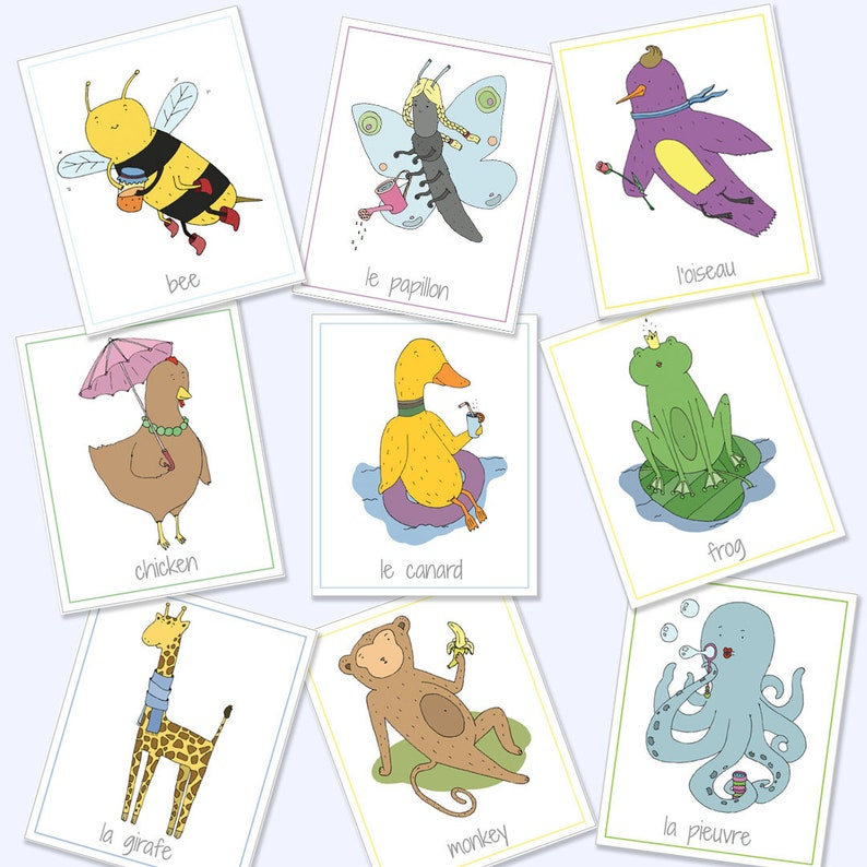 graphic relating to Animal Cards Printable called English French Bilingual Animal Flash Playing cards, Printable Online games, Enlightening Online games, Animal Playing cards, Animal Flash Playing cards, Electronic Down load
